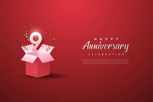 9th anniversary with number  on gift box.