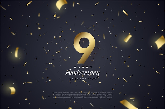 9th anniversary with number and gold paper scattered