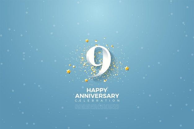 9th anniversary with number