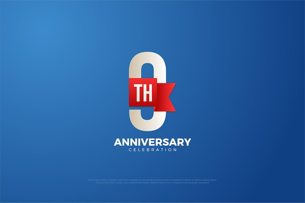 9-я годовщина с цифрами и красивой красной лентой.