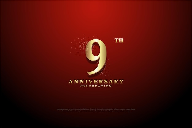 9th anniversary with numerals of golden glitter