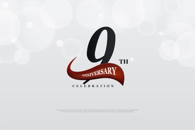 9th anniversary with red illustration curved in front of numbers.