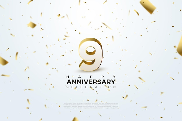9th anniversary with scattered  of number and golden paper.