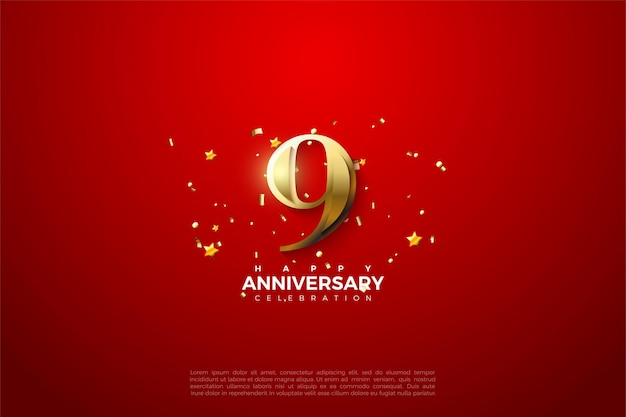 9th anniversary with sparkling golden number .
