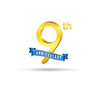 9th golden anniversary logo with blue ribbon isolated on white background. 3d gold 9th anniversary logo