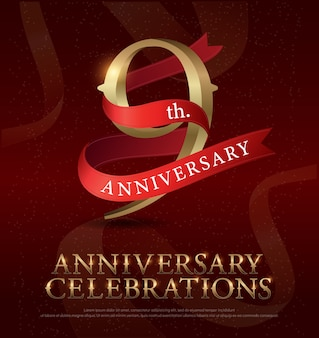 9th years anniversary celebration golden logo