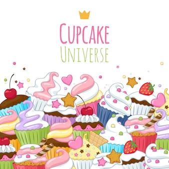 甘いカップケーキの背景。