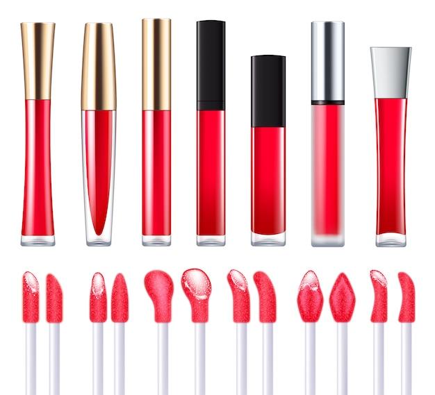 アプリケーターセットと赤い唇の光沢。