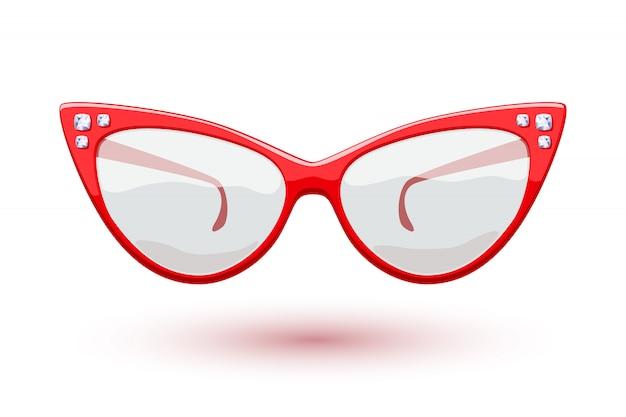 ダイヤモンドの宝石用原石の図と猫の目の赤のレトロなメガネ。アイウェアのロゴ。