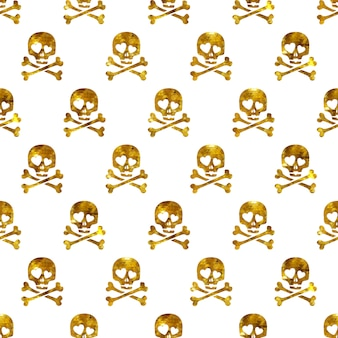 愛のシームレスパターンで黄金の輝きの頭蓋骨。