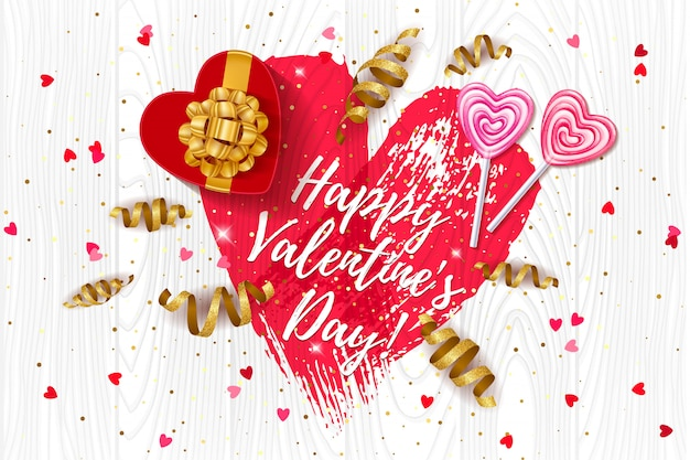 С днем святого валентина любовь с сердцем, подарочная коробка и золотой серпантин.