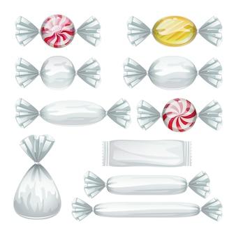 透明なラッパーのキャンディーのセット。
