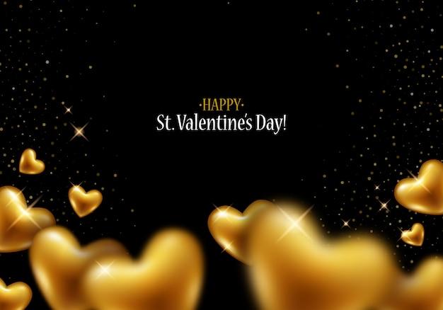 Золотые сердца и блестки. с днем святого валентина любовь фон