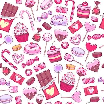 バレンタインデーのお菓子とクッキーの背景。各種キャンディー。