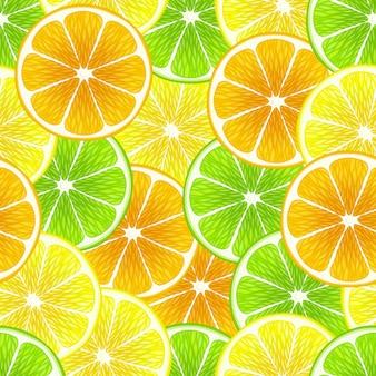 混合柑橘類のスライスのシームレスな背景 - レモン、ライム、オレンジ。