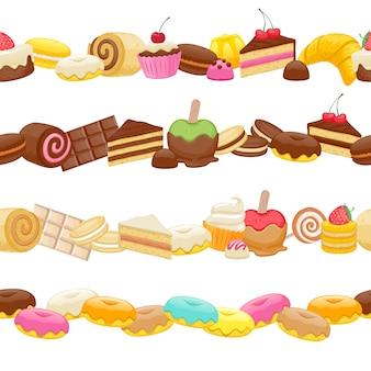 甘い食べ物シームレスな水平方向の境界線のセットです。