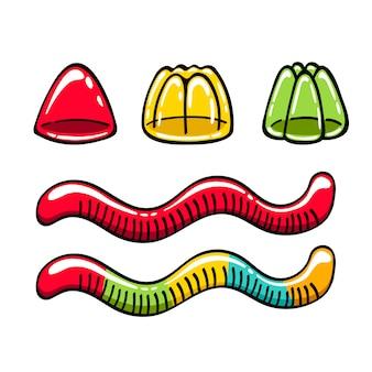 Конфеты желейные и липкие червячки
