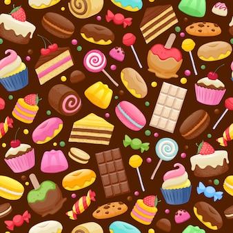 お菓子のシームレスな背景の盛り合わせ