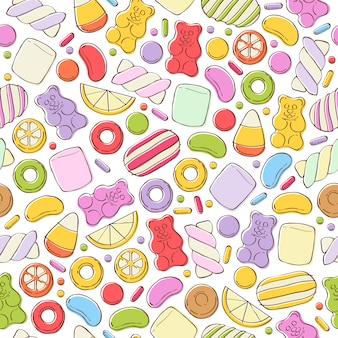 カラフルなお菓子のシームレス背景。