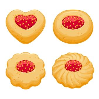 ストロベリージャムの甘いクッキーセット。