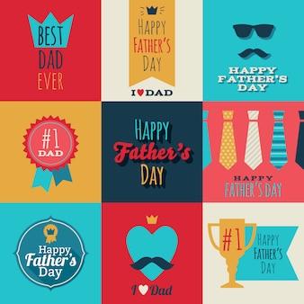 Счастливый день отцов старинные ретро значки набор.