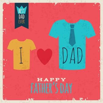 Счастливый день отцов винтажная ретро открытка с футболками и сердцем.