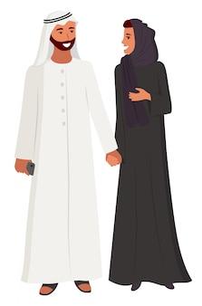 アラビア人のカップルの男性と女性のヒジャーブを着ている