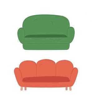 空の柔らかい場所、色のソファ、分離座るベクトル