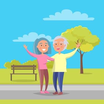 幸せな祖父母の日シニアカップルが一緒に歩く