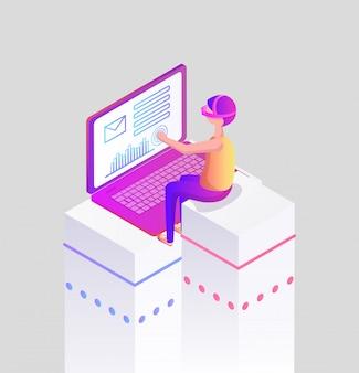 Человек виртуальной реальности с ноутбуком