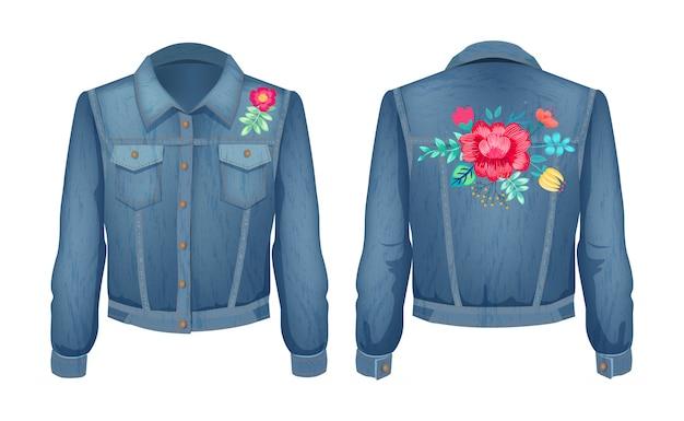 花柄パッチセット付きシャツ