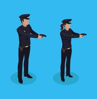 警察警官と女