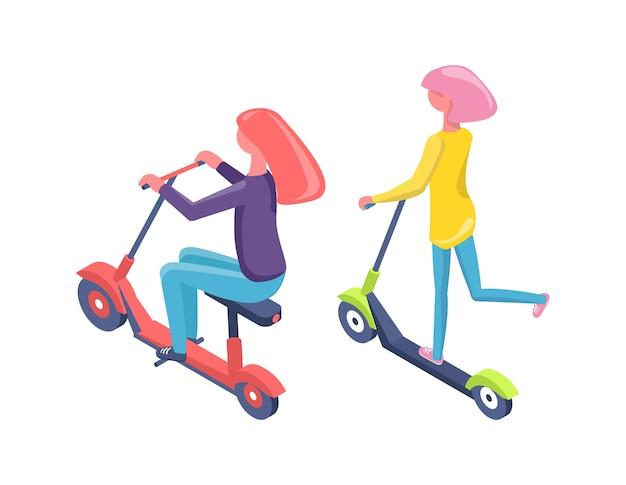 スクーターと自転車の女性