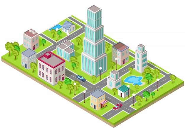フラットなデザインの都市の等尺性のアイコン