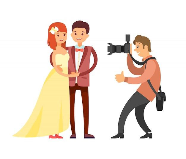 写真家による新婚夫婦のウェディングフォトセッション