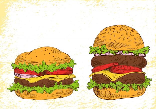 リッチな詰め物をしたハンバーガー