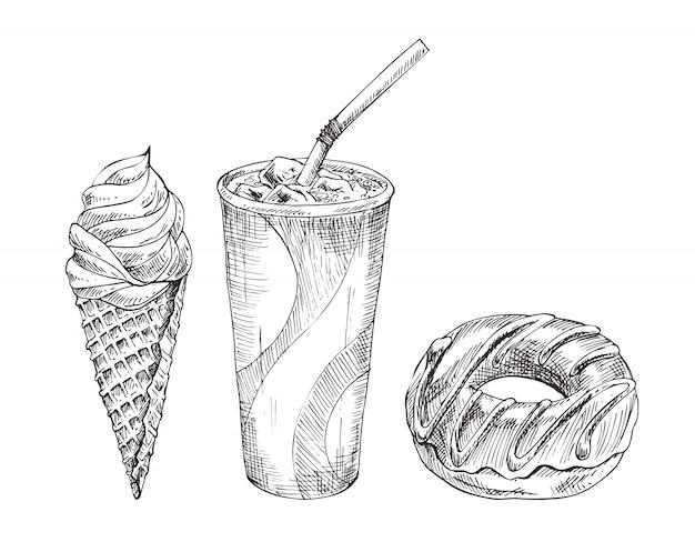 Кола бумажный стаканчик, десерт монохромный эскиз