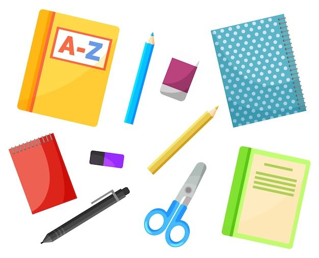 文具用品、学校の教科書、コピーブック