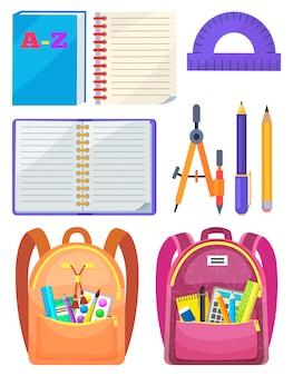 Школьная сумка с канцелярией, офисный знак