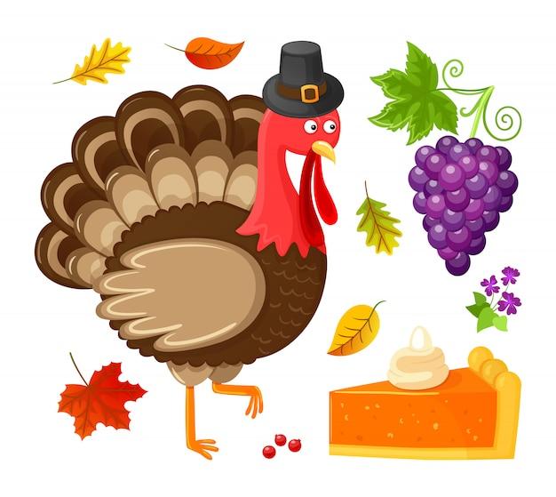 Птица день благодарения виноград изолированные иконки