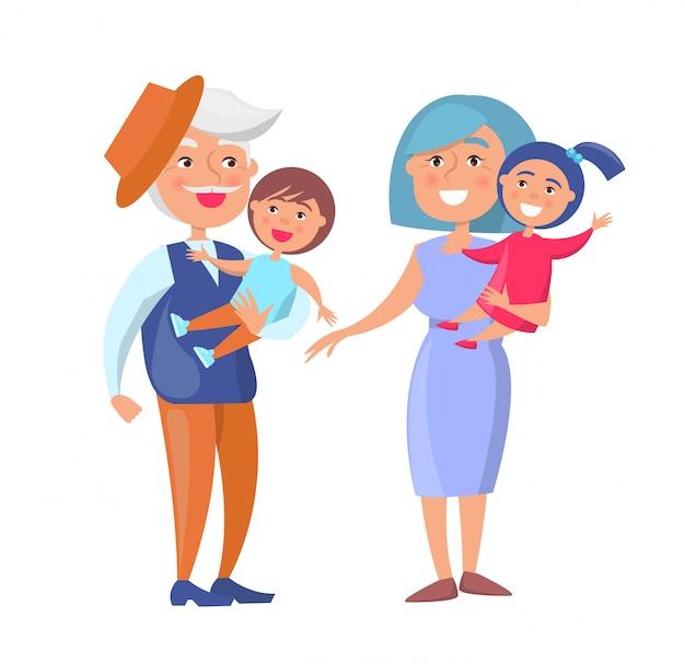 おじいちゃんとおばあちゃんの子供を保持している成熟したカップル