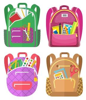 学校に戻る色の学校のバックパック