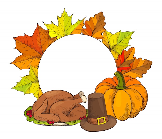 幸せな感謝祭のポスターとトルコ料理