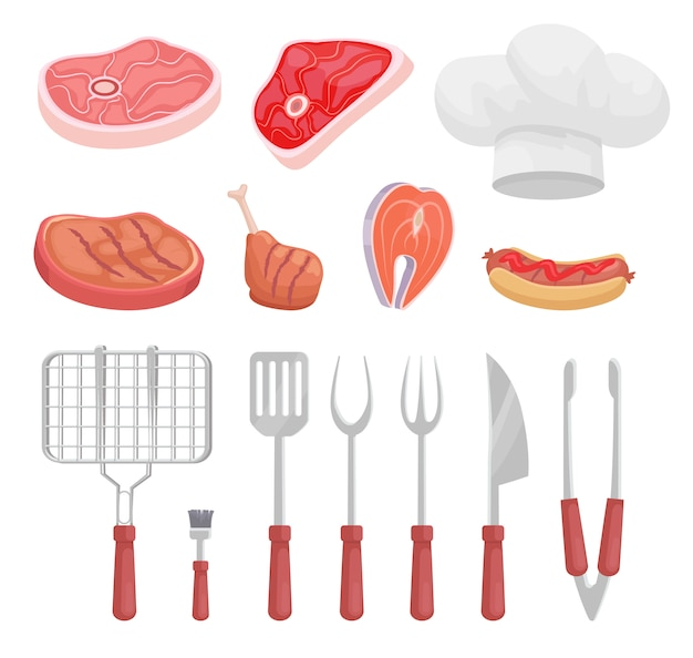 バーベキューセット、バーベキュー機器と肉、アイコン