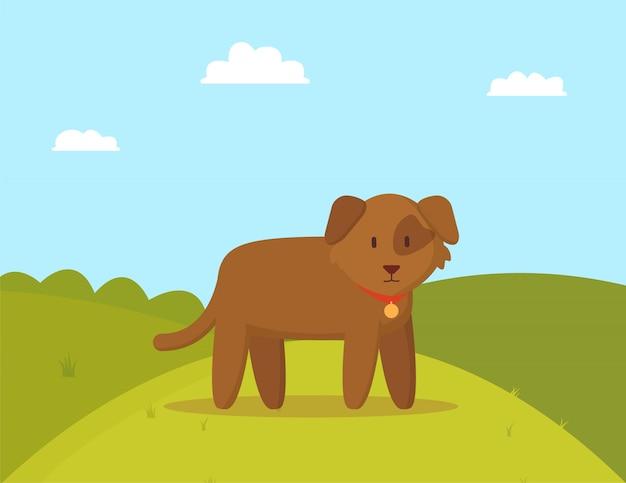 散歩にカラフルなイラストの茶色の子犬
