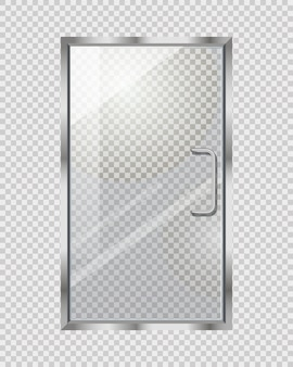 灰色の市松模様の透明なドア