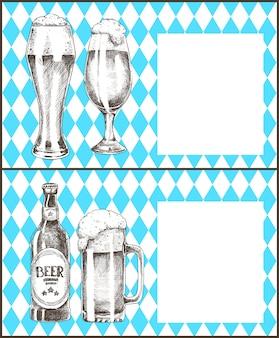 オクトーバーフェストポスターセットビールゴブレットボトルベクトル