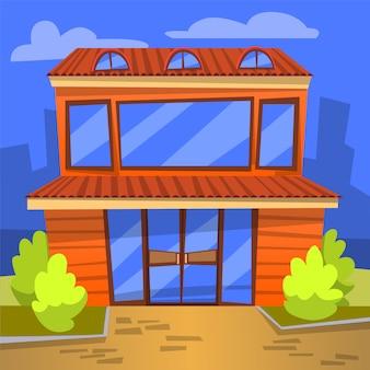 Внешний вид кафе, здание с окнами городской пейзаж