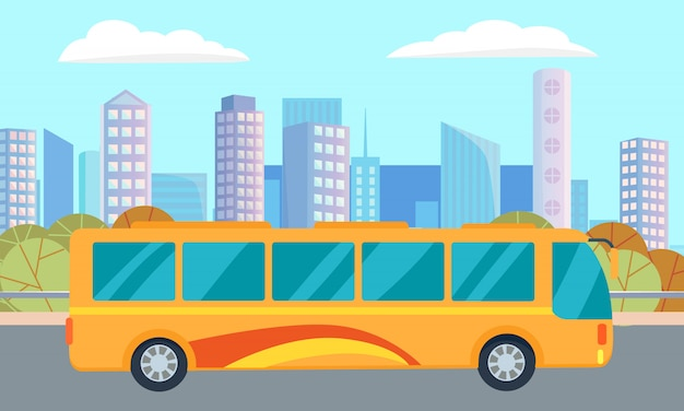 Городская улица и автобус, небоскребы и центр города