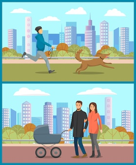 乳母車を持つ親、都市公園で犬を持つ男